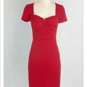 Cherry red Mad Men office dress.